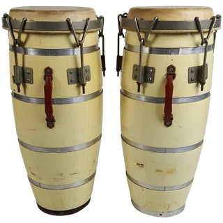 Mid-Century Cuban Conga Drums - a Pair For Sale