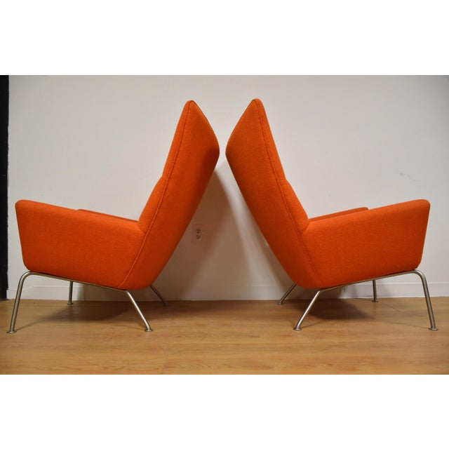 Hans J. Wegner CH445 Orange Lounge Chairs - a Pair For Sale In Boston - Image 6 of 10