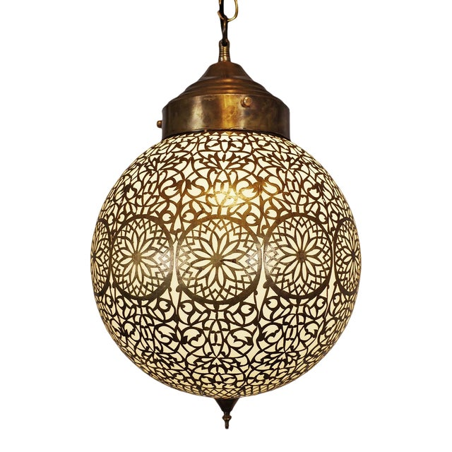 Vintage Brass & Frosted Globe Pendant For Sale