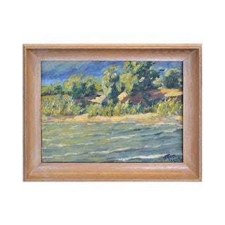 River and Trees Oil Painting, 1922 For Sale