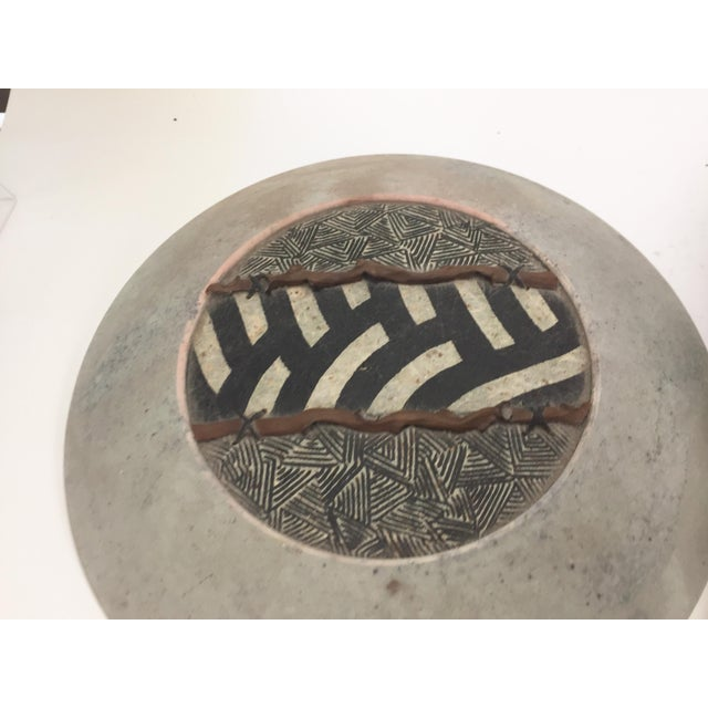 Paper Adcock Neutral Black and White Geometric Designs Raku Pottery Jar For Sale - Image 7 of 9