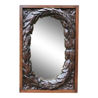 Antique French Neoclassical Carved Wood Mirror For Sale