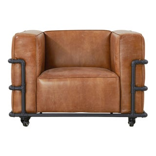 Crafters and Weavers Henry Industrial Modern Leather Arm Chair For Sale