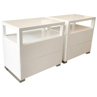 Pair of White Lacquer, Lucite and Glass Nightstands by Cain Modern For Sale