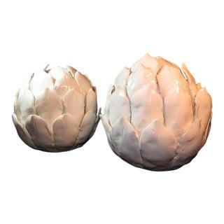 Modern White Sculpture Artichoke Heads Ceramic Art a Pair For Sale