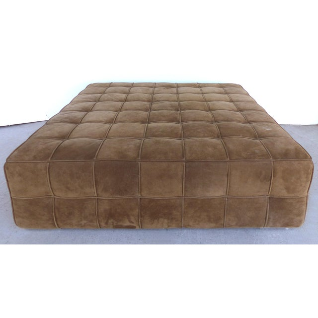 Large Tufted Square Suede Ottoman For Sale - Image 9 of 9