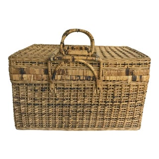 Vintage French Natural Woven Wicker Picnic Basket For Sale