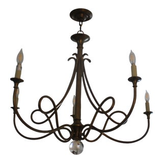Visual Comfort Double Twist Hand Rubbed Bronze 5 Candelabra Chandelier Designed by Eric Cohler For Sale