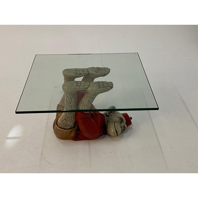 Show stoppingly fun whimsical pair of vintage monkey motife end tables having cast plaster painted apes dressed in red...
