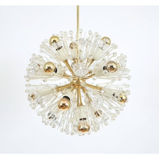 1950s Pair of Emil Stejnar Starburst Brass and Glass Chandeliers For Sale - Image 5 of 5