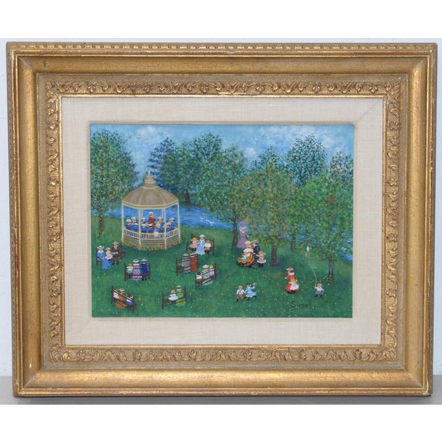 """Blue Mollie Simon """"Bandstand in the Park"""" Vintage Folk Art Painting C.1960s For Sale - Image 8 of 8"""