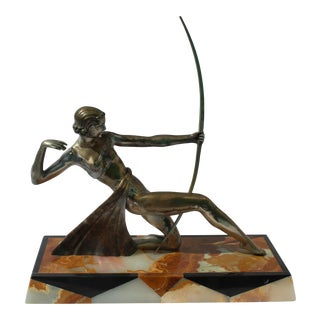Art Deco Silvered Bronze Dianna the Archer Fancy Marble Base Figurine For Sale
