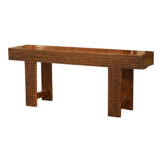 French Chip Carved Walnut Sofa Console Table With End Drawers From the Pyrenees For Sale