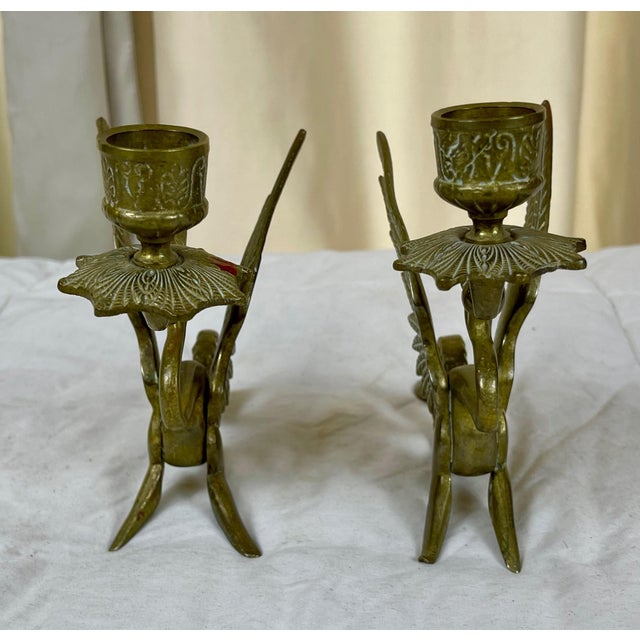 Early 20th Century Brass Dragon/Griffin Form Candle Holders - a Pair For Sale In Palm Springs - Image 6 of 10