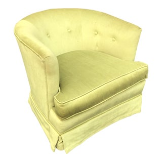 1980s Hollywood Regency Chartreuse Velvet Club Tub Barrel Chair For Sale