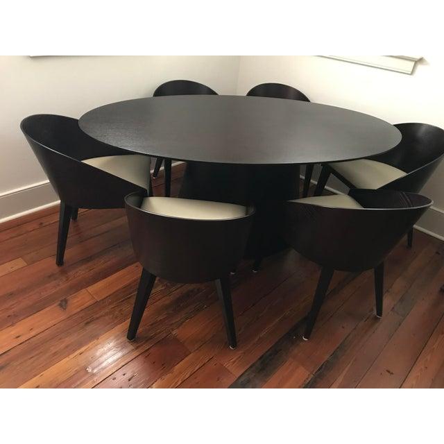 Contemporary Black Mahogany Oval Dining Set - Image 2 of 6