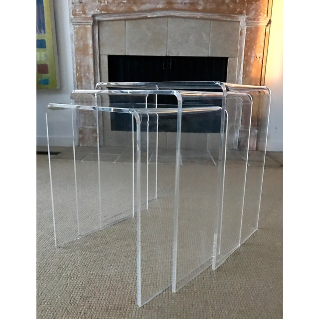 Art Deco Vintage Lucite Nesting Tables - Set of 3 For Sale - Image 3 of 9
