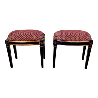 Modern Neoclassical Italian Directoire Style Upholstered Benches Stools- A Pair For Sale