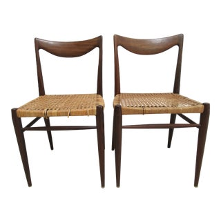 1970s Vintage Scoop Back Cane Seat Dining Chairs- A Pair For Sale