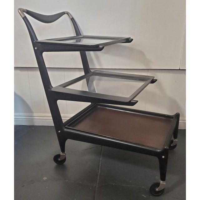 Metal 1950s Italian Modern Tea Trolly Bar Cart by Cesare Lacca For Sale - Image 7 of 7