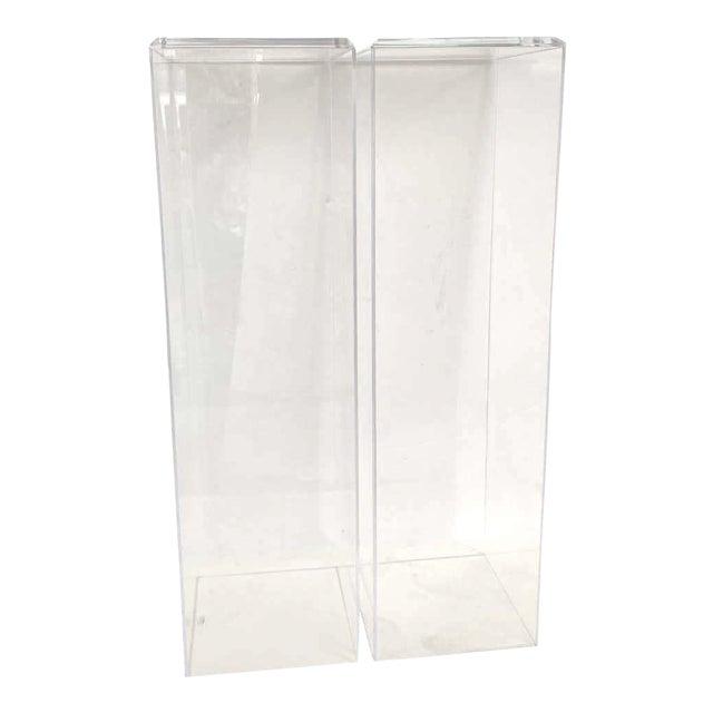 "42"" Lucite Pedestals Floor Samples bySnob Galeries - a Pair For Sale"