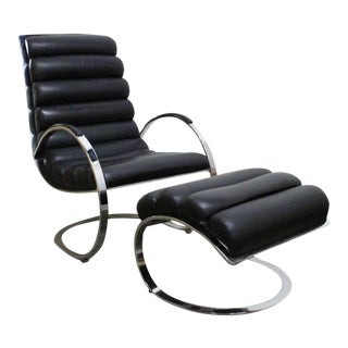 Milo Baughman Leather Lounge Chair and Ottoman For Sale