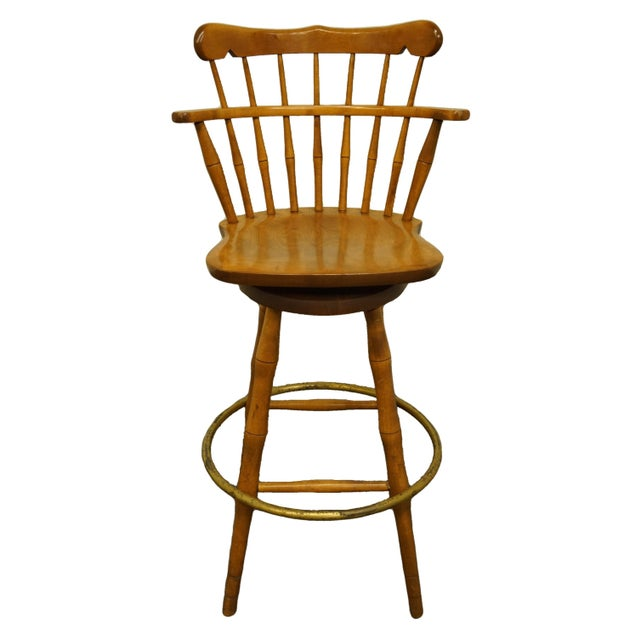 Late 20th Century S Bent Bros. Gardener Solid Maple Swivel Bar Stool For Sale - Image 13 of 13