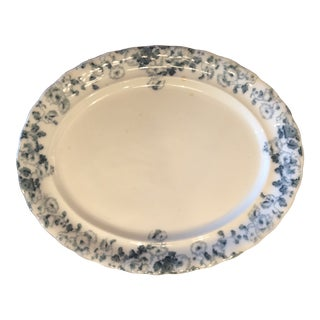1900s Antique Blue and White Platter For Sale