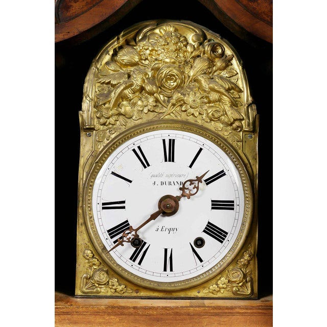 French Provincial Louis XVI Provincial Fruitwood Tall Case Clock For Sale - Image 3 of 8