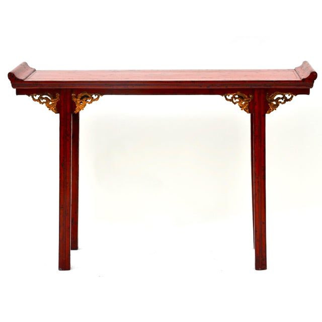 Mid 19th Century 19th C Chinese Red Lacquered Altar Table With Gold Detail For Sale - Image 5 of 7