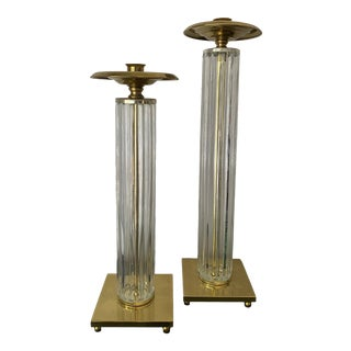 1970s Brass and Glass Candle Holders - a Pair For Sale