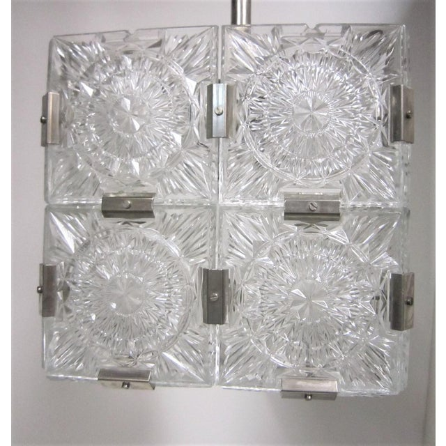 Original Cut Glass With Nickeled Clips Box Cube Pendant Lights - Set of 3 For Sale - Image 10 of 12