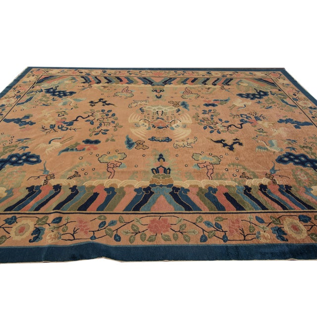 Art Deco Antique Peach Peking Chinese Room Size Wool Rug 9 Ft X 11 Ft 9 In. For Sale - Image 3 of 11