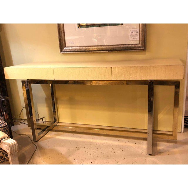 Brass Modernist Chrome and Brass Based Console Table or Sideboard For Sale - Image 7 of 10