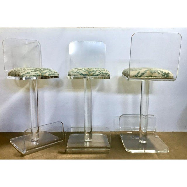 Hollywood Regency Set of Three Vintage Lucite Bar Stools, Newly Upholstered Seat For Sale - Image 3 of 13