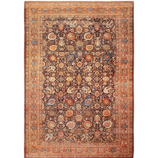 Large Antique Persian Tabriz Oversized Navy Blue Rug - 14′8″ × 22′ For Sale