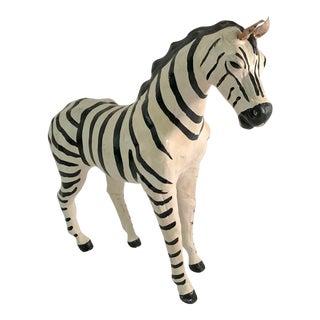 Vintage Mid-Century Papier-Mâché Zebra Figurine For Sale