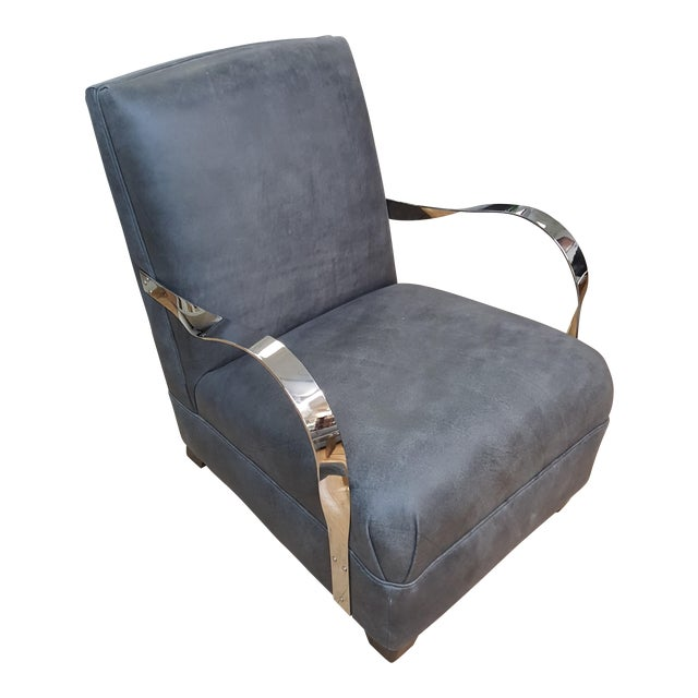Bernhardt Markham Gray Upholstered Club Chair For Sale