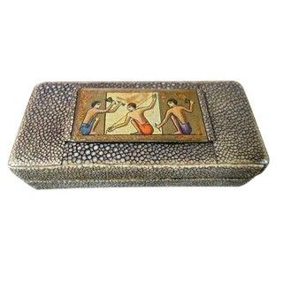 Art Deco English Shagreen Stamp Box For Sale