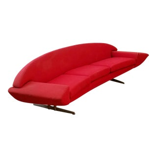 1960s Danish Modern Johannes Andersen for Trensum Sweden Red Wool Sofa
