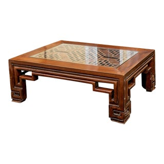 Chinese Rectangular Hand-Carved Elmwood Cocktail Table For Sale