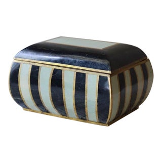 Vintage Marble & Brass Tessellated Decorative Box For Sale