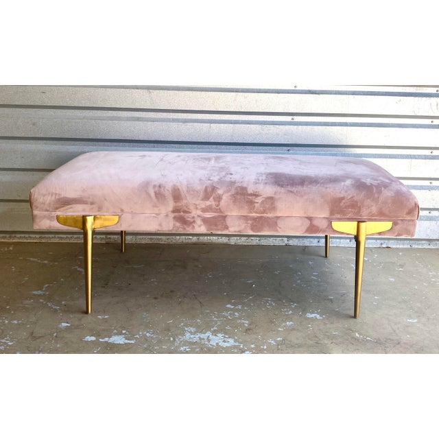 Contemporary Lavender Velvet Bench For Sale In Miami - Image 6 of 9