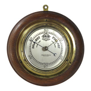 Antique Oak and Brass Wall Barometer For Sale