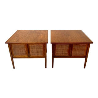 Pair of Mid-Century Modern Walnut and Cane Side Tables For Sale