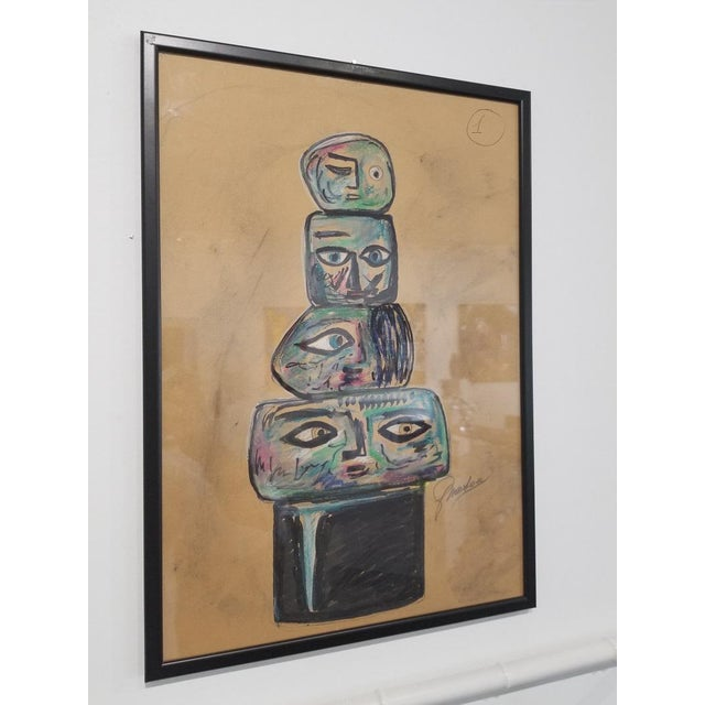 Mid-Century Modern 1960s Vintage Ermanno Nason Original Sculpture of a Totem Preparatory Drawing For Sale - Image 3 of 8