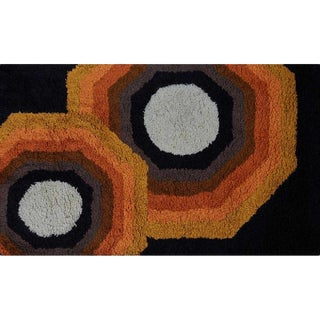 Rya Wool Area Rug With Kaleidoscopic Pattern, Finland 1960s. For Sale