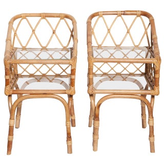 Diminutive Pair of 1950s Italian Bamboo Side Tables or Night Stands For Sale