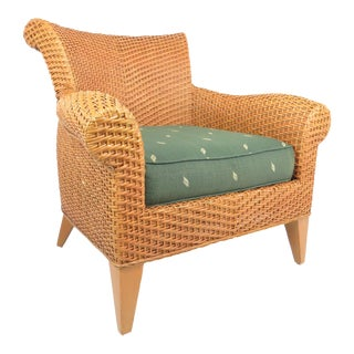 Vintage Large Ethan Allen Wicker Lounge Armchair For Sale