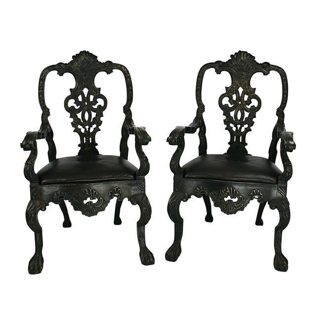 Wood Portuguese Baroque Revival Green Armchairs - A Pair For Sale - Image 7 of 7